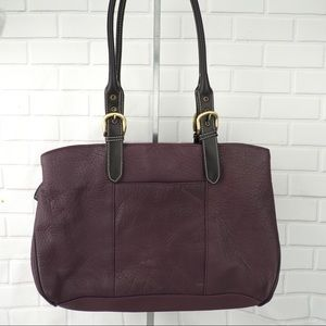 Great American Leatherworks purple leather tote